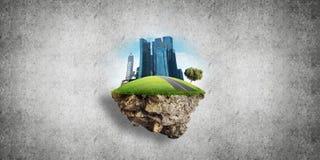 与塔和摩天大楼的现代都市风景土地的绿色部分的 库存例证