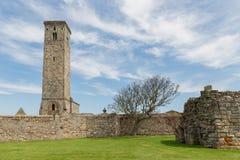 与塔圣安德鲁斯大教堂,苏格兰的中世纪废墟 免版税库存照片