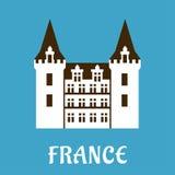 与塔楼的新生城堡,法国 免版税库存图片