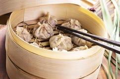 与填装的中国饺子 免版税图库摄影