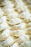 与填装的未加工的饺子 免版税库存图片