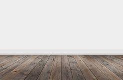与墙壁的木地板 免版税图库摄影