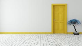 与墙壁的黑暗的黄色门 库存图片