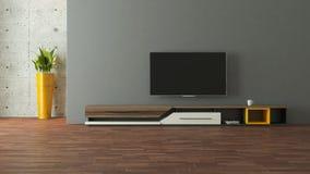 与墙壁设计的现代电视立场 库存照片