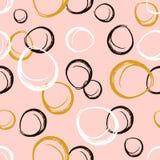 与墨水手拉的圈子的无缝的样式 抽象黑白 也corel凹道例证向量 库存图片