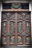 与墨西哥符号的手工制造木门 库存图片