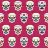 与墨西哥头骨Calavera的无缝的纹理 免版税库存照片