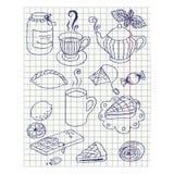 与墨水图画下午茶时间集合的纸板料 图库摄影