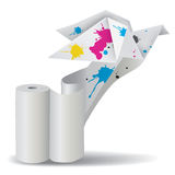 与墨水解开纸的Origami鸟 免版税库存照片
