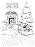 与壁炉、袜子和xmas树的圣诞卡 免版税库存照片