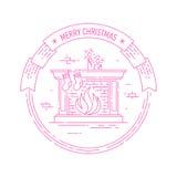 与壁炉的圣诞节和新年快乐徽章 免版税库存照片