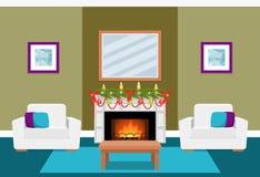 与壁炉的客厅内部 平的传染媒介例证 库存图片