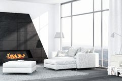 与壁炉的当代白色客厅内部 图库摄影