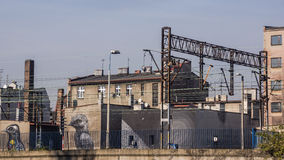 与壁画的都市横向 免版税库存图片