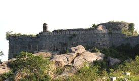 与壁角死命的堡垒城垛 免版税库存照片