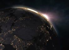 与壮观的日落的行星地球-欧洲 库存照片