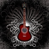 与声学吉他的横幅在黑背景 库存图片