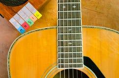 与声学吉他的音乐字母表 库存照片