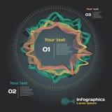 与声波的Infographics在黑暗的背景 免版税库存照片