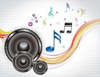 与声音的抽象五颜六色的音乐通知 免版税库存图片
