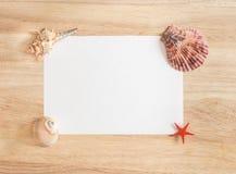 与壳的美好的海构成在木背景 与贝壳的夏天框架,特写镜头 免版税库存图片