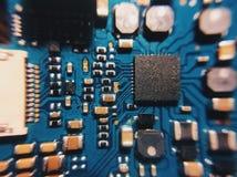 与处理器的电子线路板,关闭 库存图片