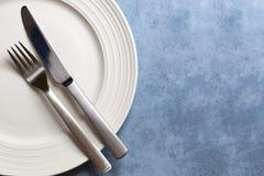 与复制空间的餐位餐具 库存图片
