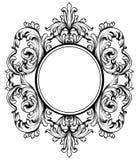 与复杂装饰品装饰的巴洛克式的框架 向量 库存图片