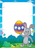 与复活节兔子题目9的框架 免版税图库摄影