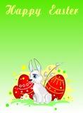 与复活节兔子、鸡蛋和杨柳的贺卡 免版税库存图片