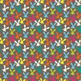 与复活节兔子的五颜六色的无缝的样式 库存图片