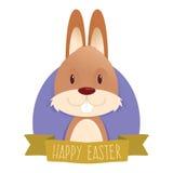 与复活节兔子的复活节问候 免版税库存图片