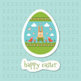 与复活节兔子的愉快的复活节卡片 免版税库存图片