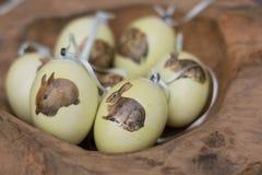 与复活节兔子的色的复活节彩蛋 免版税库存图片