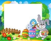 与复活节兔子题材6的框架 免版税库存图片