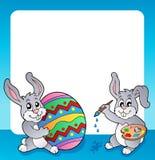 与复活节兔子题目3的框架 免版税图库摄影