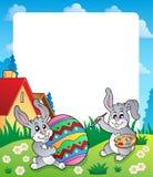 与复活节兔子题目6的框架 库存图片