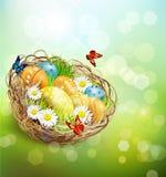 与复活节巢和鸡蛋的传染媒介背景 免版税图库摄影