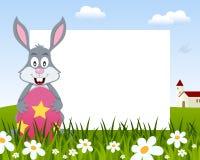 与复活节彩蛋水平的框架的兔子 皇族释放例证