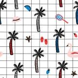 与夏天元素的无缝的样式 与棕榈树,火鸟游泳圈子,帽子,太阳镜的创造性的纹理 库存照片