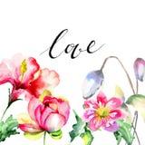 与夏天花的原始的花卉背景和标题爱 免版税库存照片