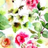 与夏天花的无缝的墙纸 图库摄影