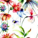 与夏天花的无缝的墙纸 库存图片