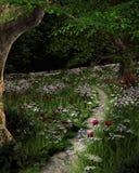 与夏天花的绿色草甸路 库存例证