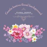 与夏天花的花卉框架 百花香样式 库存例证