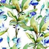 与夏天蓝色花的无缝的墙纸 库存照片