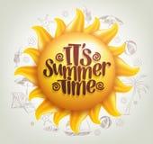 与夏时标题的3D现实太阳传染媒介在背景中 向量例证