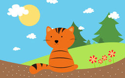 与夏时的橙色猫 免版税图库摄影