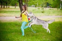 与多壳的狗的女孩戏剧 免版税库存照片