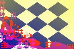 与多彩多姿的元素的抽象样式在轻的背景 库存例证